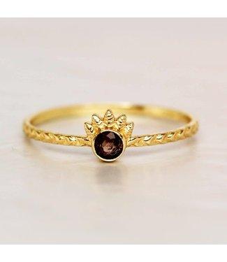 MUJA JUMA Gold Plated Smokey Quartz Dot With Crown Maat 52