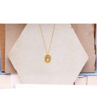 MUJA JUMA Collier Labradorite Diamond Striped Gold Plated - 55 cm
