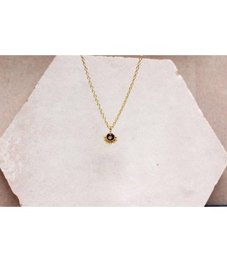 MUJA JUMA Collier Smokey Quartz Dot With Crown Gold Plated - 55 cm