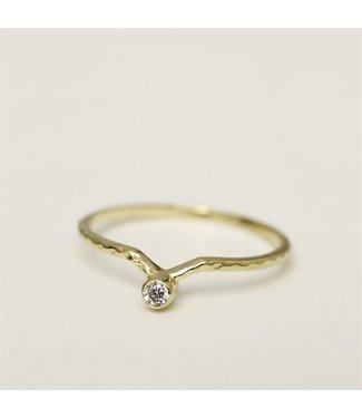 MUJA JUMA Gold Plated Ring  Set Outside White Moonstone Maat 52