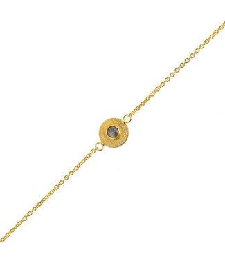 MUJA JUMA Bracelet 3mm Labradorite Coin Gold Plated