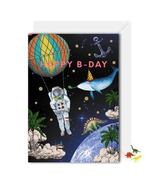 LOCO LAMA Space kaart - Happy b-day