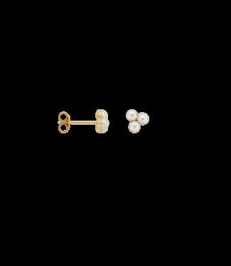 ANNA NINA Single Triple Pearl Stud Earring Goldplated