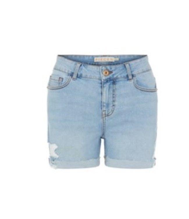 PIECES Lisa Midwaist Destroyed Short jeans blue denim