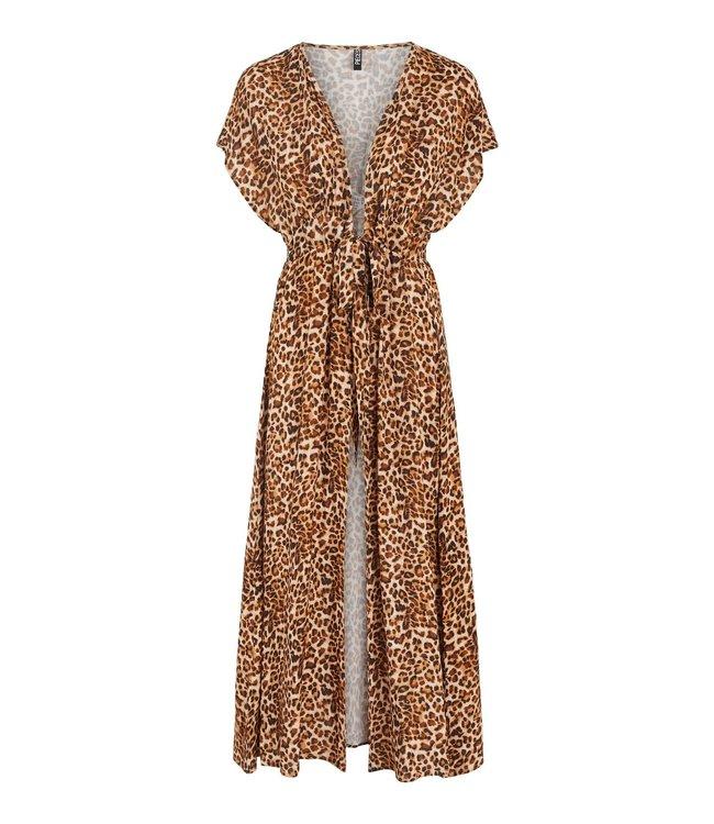 PIECES Linda long kimono leopard