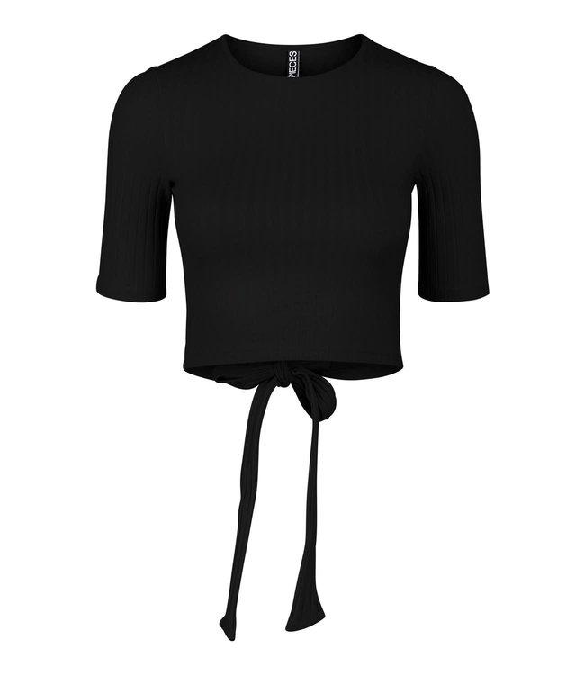 PIECES Tiana cropped top zwart