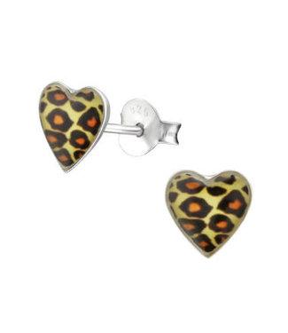 PRECIOUS JEWEL kinderoorbel leopard hart zilver