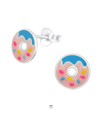 PRECIOUS JEWEL Kinder oorbellen  donut blauw zilver
