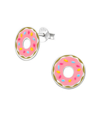 PRECIOUS JEWEL Kinder oorbellen  donut roze zilver