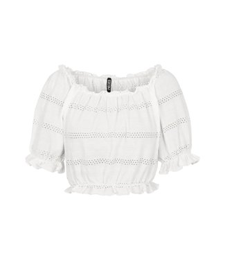 PIECES Taylee cropped top bright white