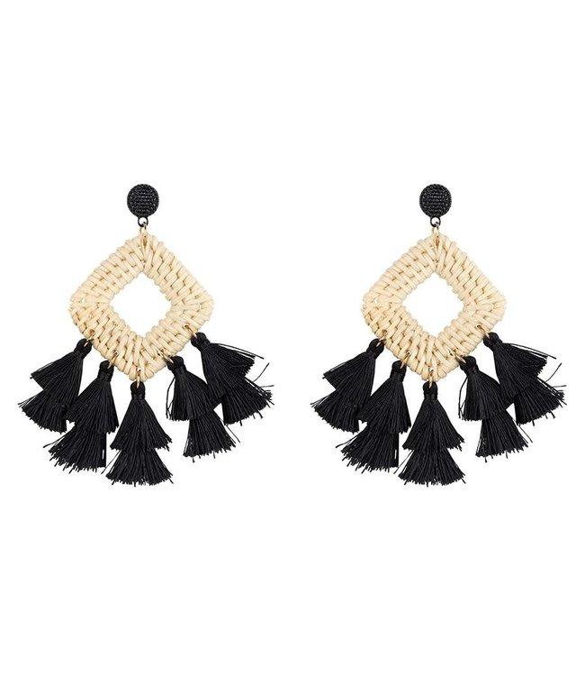 Club Manhattan Rotan fringe earrings