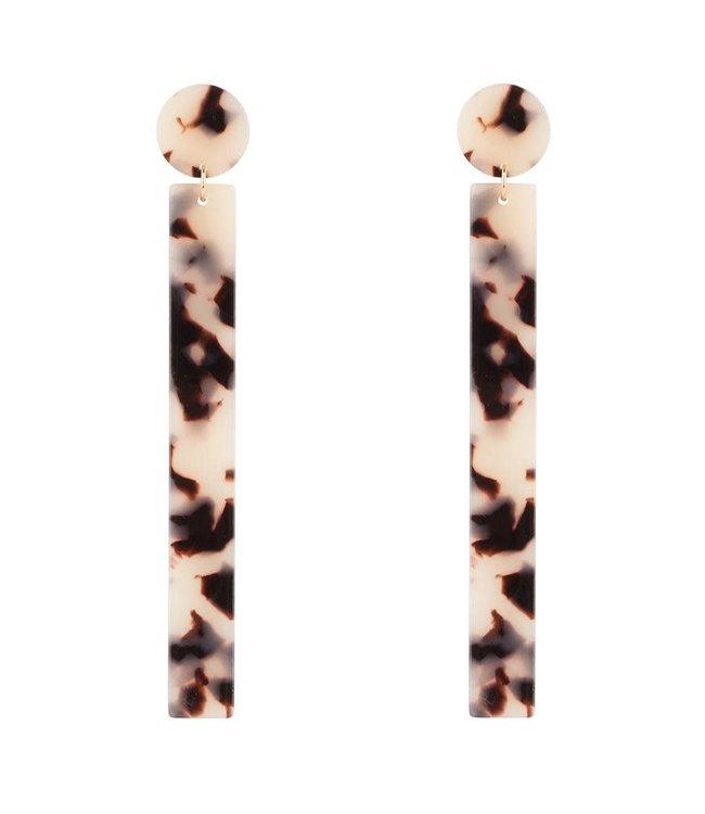 Club Manhattan leopard bar earrings