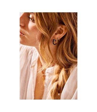 ANNA NINA Single Dolly Ring Earring Black goldplated