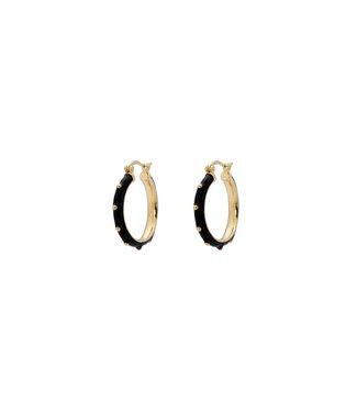 ANNA NINA Dolly Hoop Earrings black Goldplated