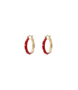 ANNA NINA Dolly Hoop Earrings Red Goldplated