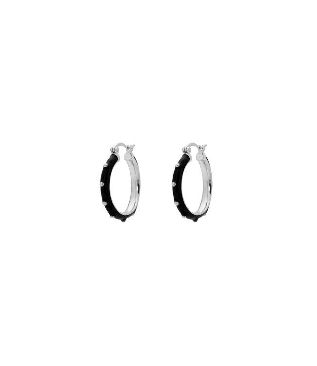 ANNA NINA Dolly Hoop Earings Black silver