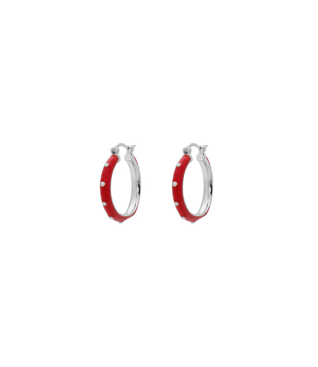 ANNA NINA Dolly Hoop Earings Red brass silver