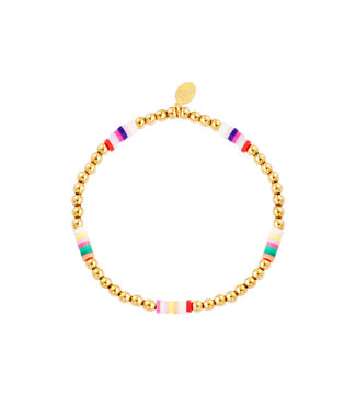 Rumah Armband colored slices and golden beads