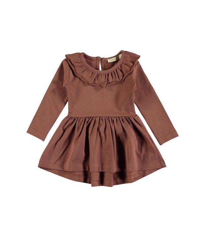 Pexi Lexi Dress ruffle - sienna brown
