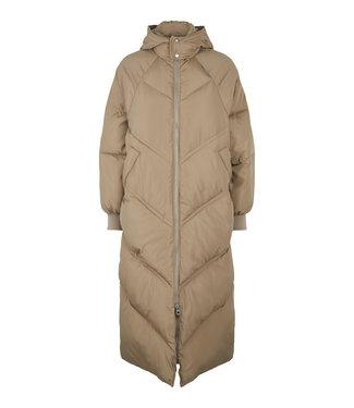 PIECES Felicity long puffer jacket Silver mink