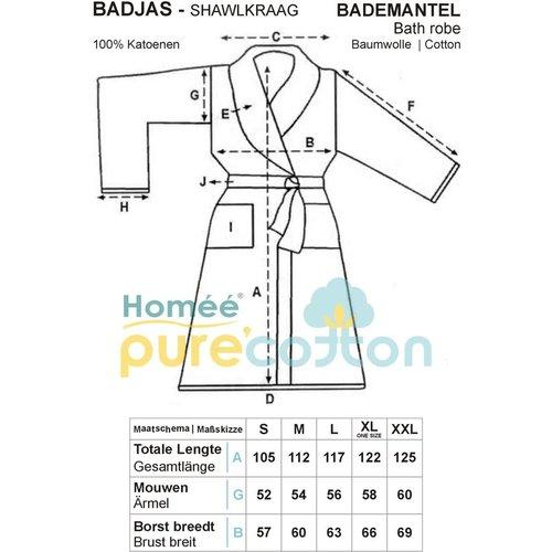 Horeca Suite Badjas - shawlkraag - 450g. p/m2 badstof 100% Katoenen - XL - Wit (Optisch gebleekt)  100% katoen  - Leverbaar in: Een maat