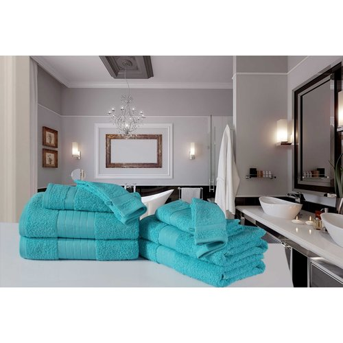 Good morning 4 stuks handdoeken 50x100 set nr.1000 aqua