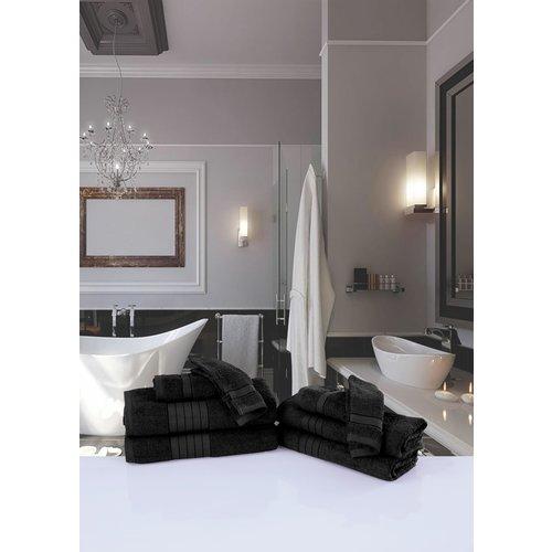Good morning 4 stuks handdoeken Good morning 50x100 set nr.1000 zwart - Leverbaar in: 50x100