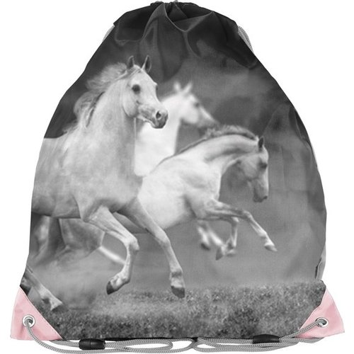 Animal Pictures Animal Pictures Gymbag Witte Paarden - 38x34cm - Polyester - Leverbaar in: 38x34