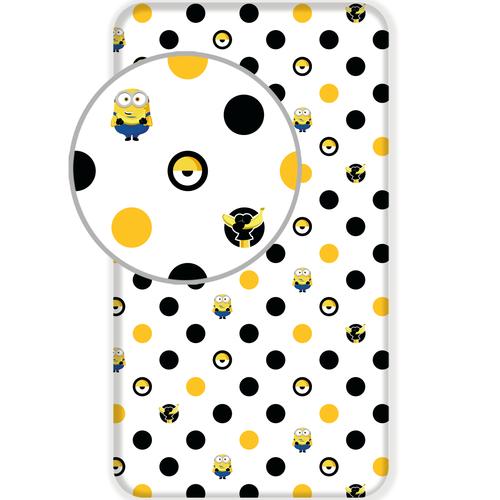 Minions 2 Hoeslaken Dots Eenpersoons 90 x 200 cm Wit