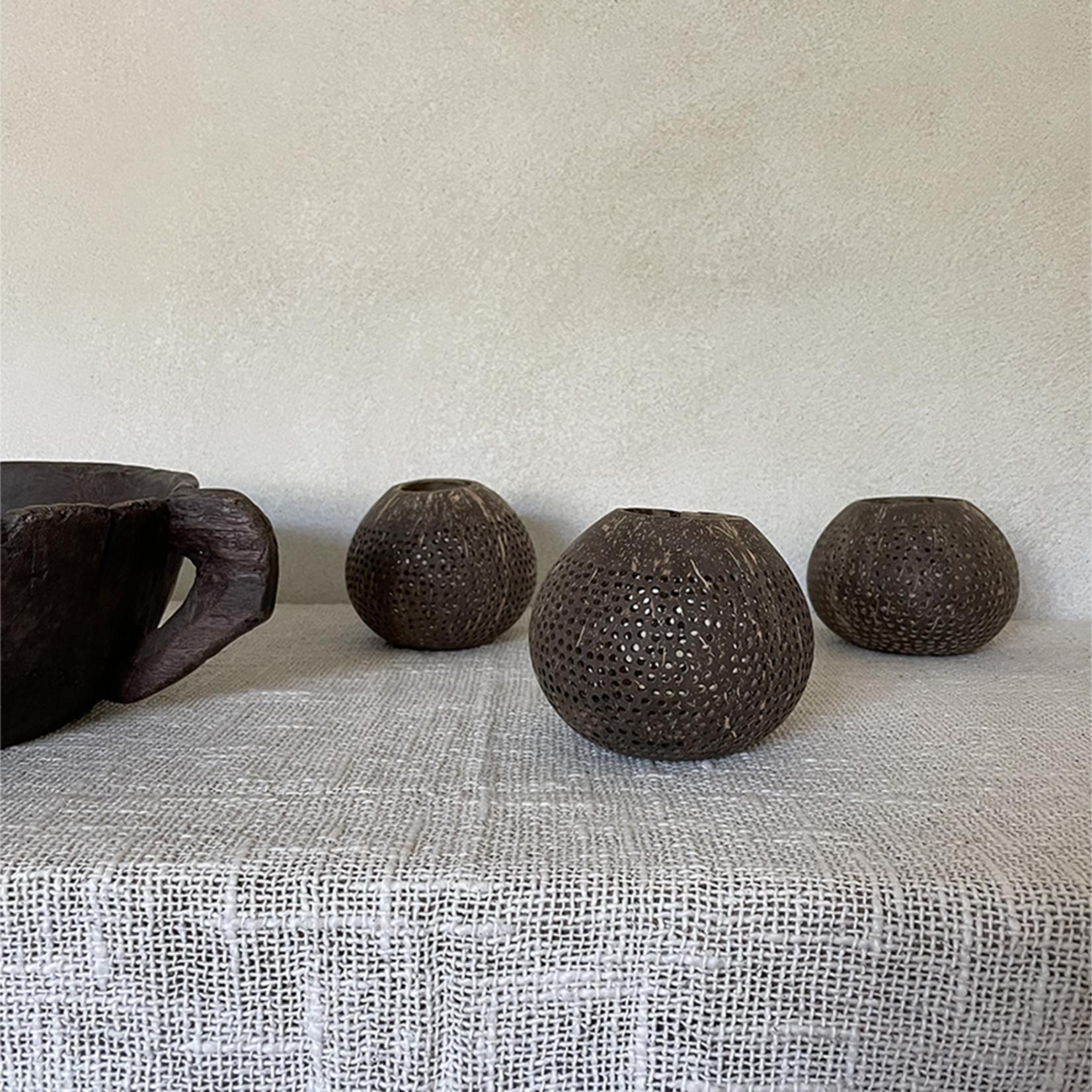 Coconut tea light holder - brown