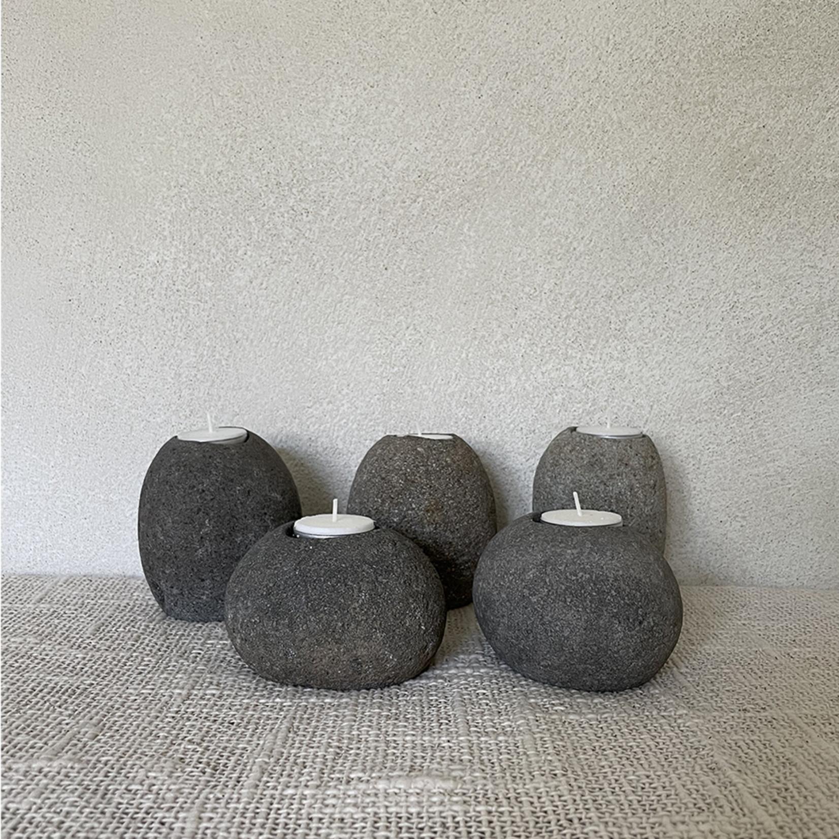Pebble stone tea light holder set