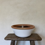 Terracotta outdoor candle - white