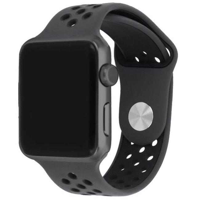 Apple watch doppia banda sportiva - marrone nero