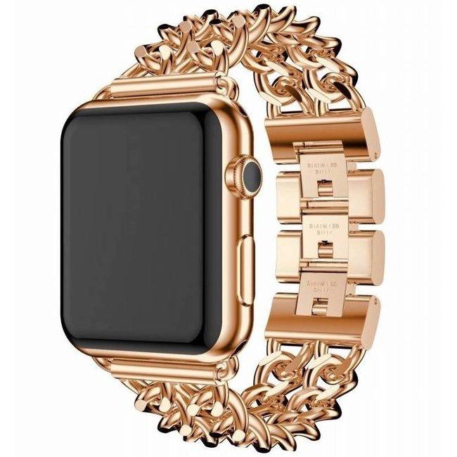 Apple watch cinturino da cowboy in acciaio - rosa oro