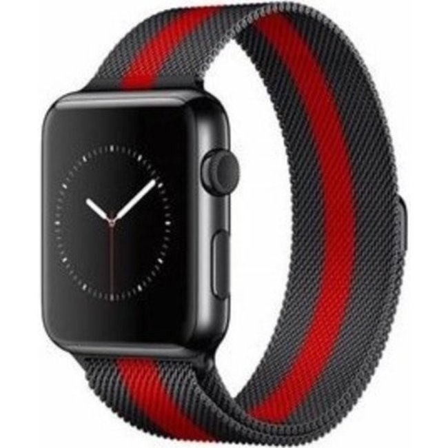 Apple watch banda milanese - nero rosso a strisce