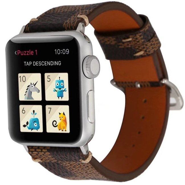 Apple watch fascia a griglia in pelle - marrone
