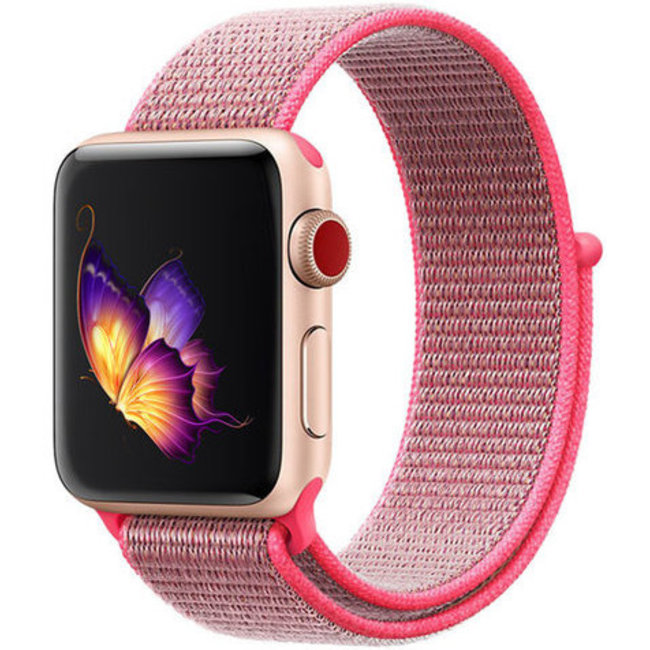Apple watch tapis roulant sportivo in nylon - rosa rosso