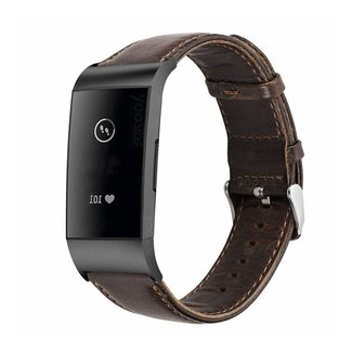 Marca 123watches Fitbit charge 3 & 4 cinturino in vera pelle - scuromarrone