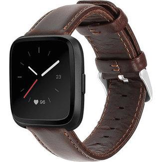 Marca 123watches Fitbit Versa cinturino in vera pelle - scuromarrone