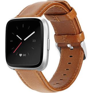 Marca 123watches Fitbit Versa cinturino in vera pelle - chiaromarrone