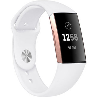 Marca 123watches Fitbit charge 3 & 4 fascia in silicone per lo sport - bianco