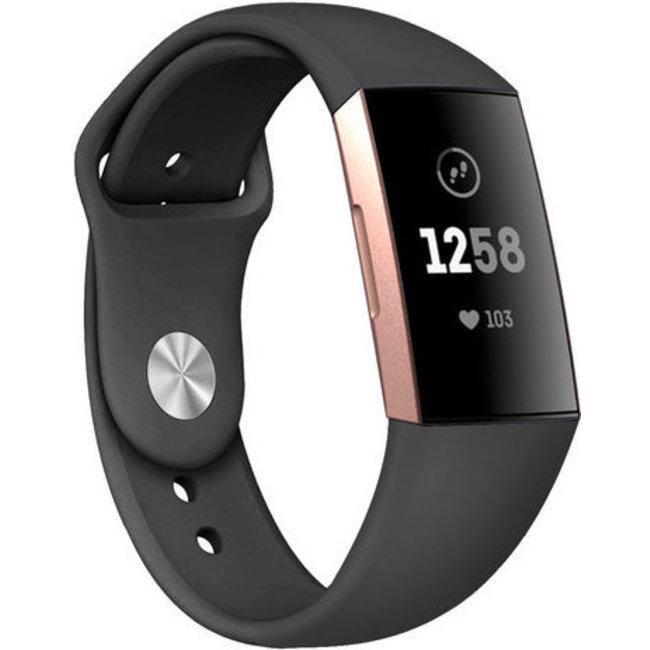Fitbit charge 3 & 4 fascia in silicone per lo sport - nero