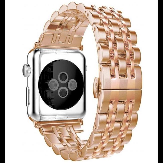 Apple watch cinturino a maglie in acciaio inossidabile - rosa oro