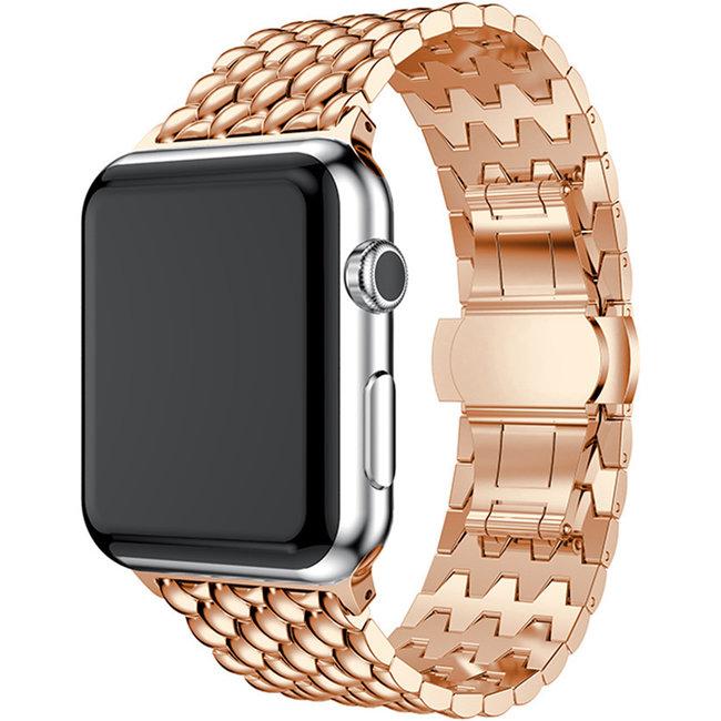 Apple watch cinturino a maglie in acciaio dragon - rosa oro