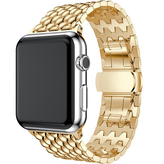 Apple watch cinturino a maglie in acciaio dragon - oro
