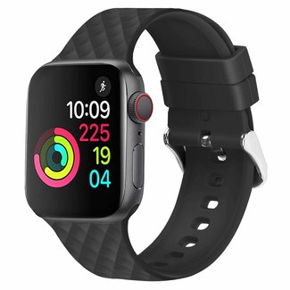 Marca 123watches Apple watch banda romboidale in silicone - nero