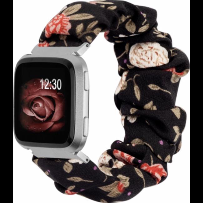 Fitbit Versa band scrunchie - fiori nero