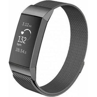 Marca 123watches Fitbit charge 3 & 4 banda milanese - gun nero
