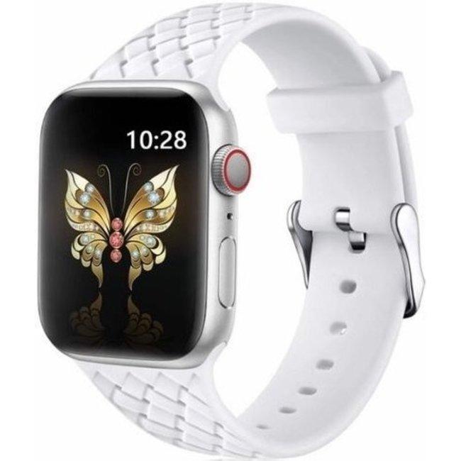 Apple watch banda di silicone intrecciata - bianco