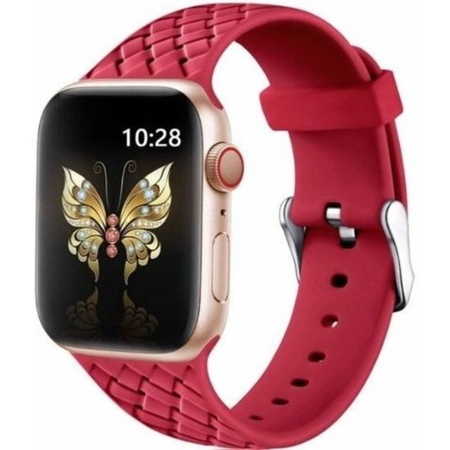 Apple watch banda di silicone intrecciata - rosso